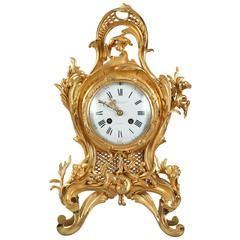 Small Gilt Bronze Cartel Clock in Louis XV Style, Signed Eugène Bagues