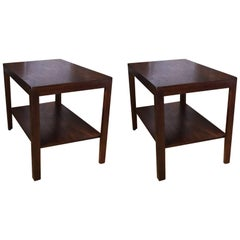 Pair of Walnut Side Tables by Dunbar
