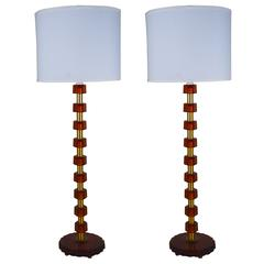 Pair of Bergboms Tall Table Lamps with Amber Glass and Brass Ring Inserts