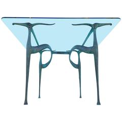 """Bronze and Glass """"Gazelle"""" Dining Table by Dan Johnson with a Rock & Roll Past"""