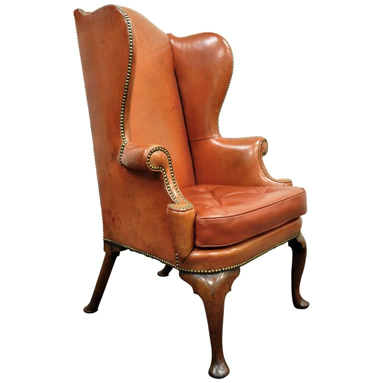 Antique 19th Century Burnt Orange Distressed Leather English Wingback Chair For