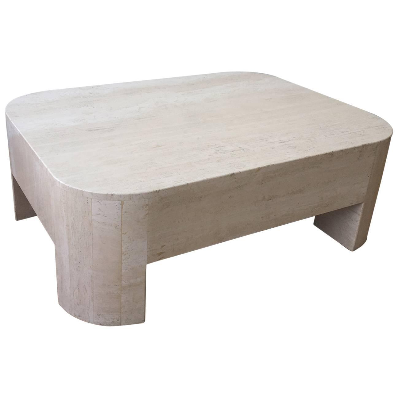 Solid Travertine Coffee Table: Polished Italian Travertine Cocktail Table For Sale At 1stdibs