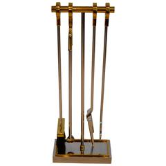 Crome and Brass Fireplace Tool Set by Danny Alessandro