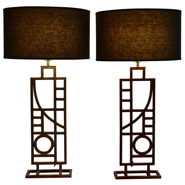 Pair of Mid Century Modern Nickel and Copper Table Lamps by Robert Sonneman