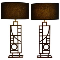 Pair of Modern Nickel and Copper Table Lamps by Sonneman for George Kovacs