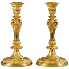 Pair of 19th Century Candlesticks in Regency Style