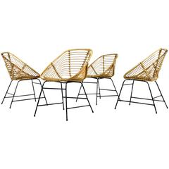 Set of Four Mid-Century Modern Bamboo Wicker Chairs with Iron Base, Germany