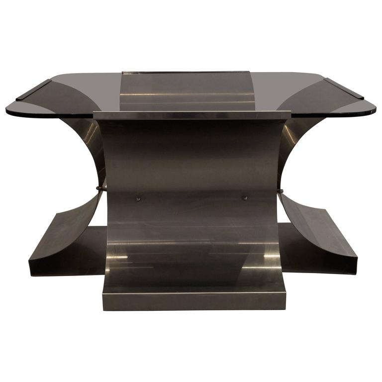 1970s, François Monnet, Kappe ed., Glass and Stainless Steel Coffee Table