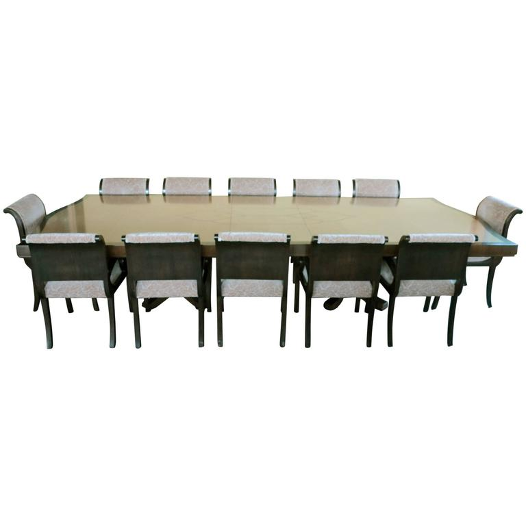 Enrique Garcel Custom-Made Dining Table 12 Chairs Art Deco Style