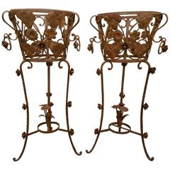 Pair of Iron Leaf and Flower Plant Stands