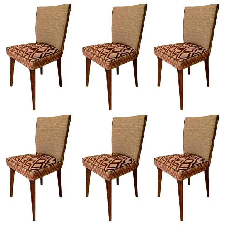 Six Pierluigi Colli 1950 Wood And Fabric Italian Chairs For Sale