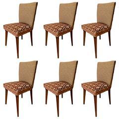 Six Pierluigi Colli 1950 Wood and Fabric Italian Chairs