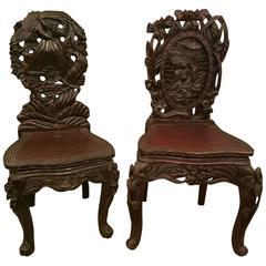 Two 19th Century Japanese Carved Hardwood Chairs