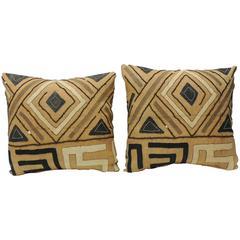 Pair of 19th Century Raffia Appliqué Tribal Decorative Textured Finish Pillows