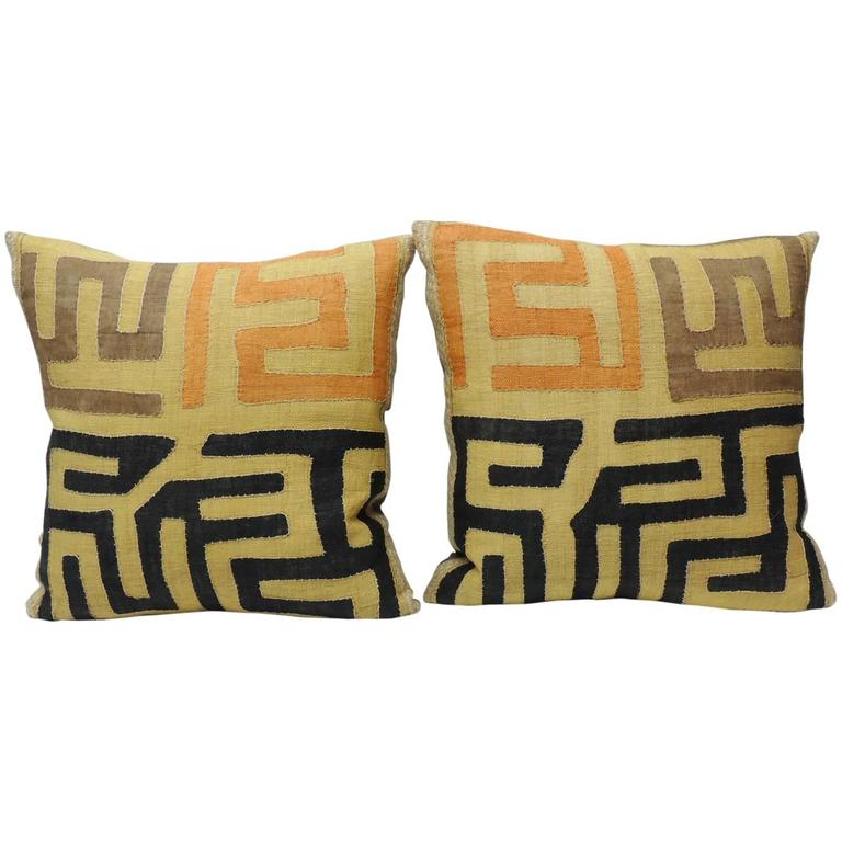 Pair of Large Vintage African Kuba Raffia Tribal Decorative Pillows