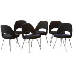 Set of Six Black Eero Saarinen Series 71 Chairs for Knoll International