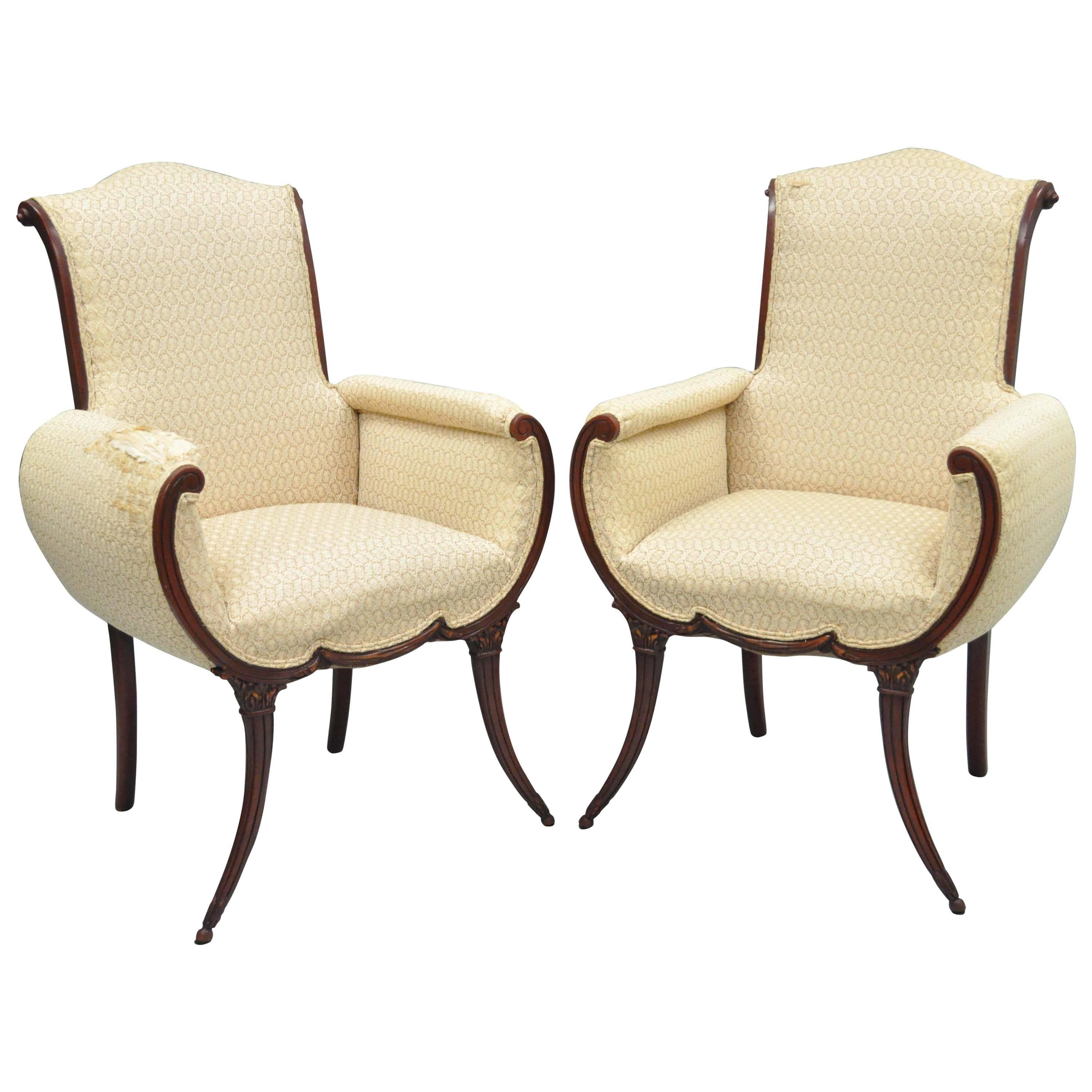 Pair Hollywood Regency French Victorian Mahogany Saber Leg Fireside Arm Chairs