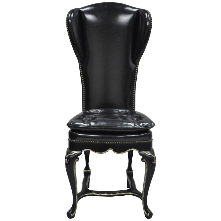 Vintage Ebonized Black Lacquered Swedish Rococo Style Wingback Accent Side Chair