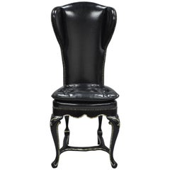 Ebonized Black Lacquer Swedish Rococo Style Empire Wingback Accent Side Chair