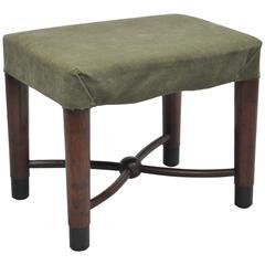 Art Deco Gilbert Rohde for Cavalier Ball Stretcher Mahogany Vanity Bench Stool