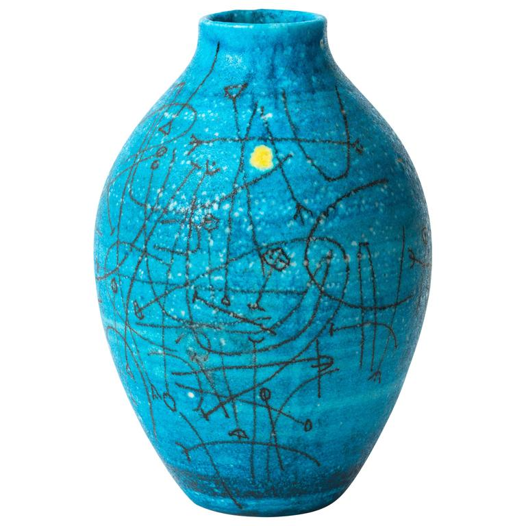 Large 1950s Guido Gambone Esoteric Ceramic Vessel in Stunning Mediterranean Blue