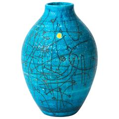 Large 1950s Guido Gambone Esoteric Ceramic Vessel in Stunning Mediterranean Blue