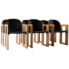 """Dialogo"" Oak and Black Fiberglass Armchairs for B&B Italia, Set of Six, 1974"
