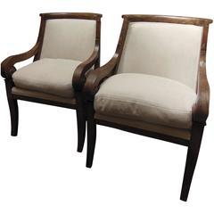 Pair of Vintage Biedermeier Style Armchairs