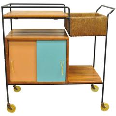 Vintage Arthur Umanoff Mid-Century Modern Tiki Bar Cart in Wrought Iron and Rush