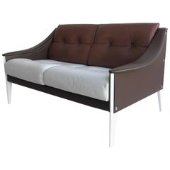 "Gio Ponti ""Dezza"" Sofa in white and brown leather by Poltrona Frau"