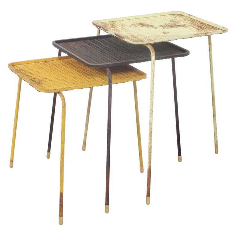 Early Mathieu Matégot 'Soumba' Nesting Tables