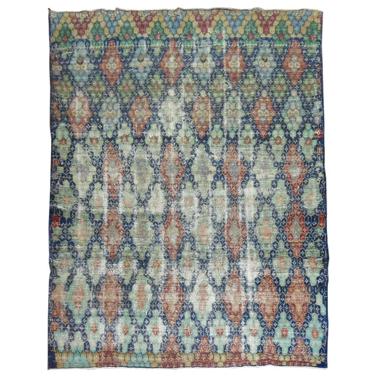 Shabby Chic Vintage Anatolian Deco Style Carpet For Sale
