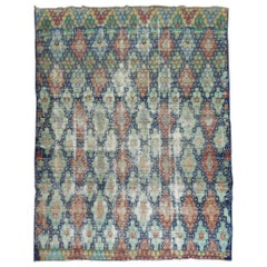 Blue Shabby Chic Vintage Anatolian Deco Carpet