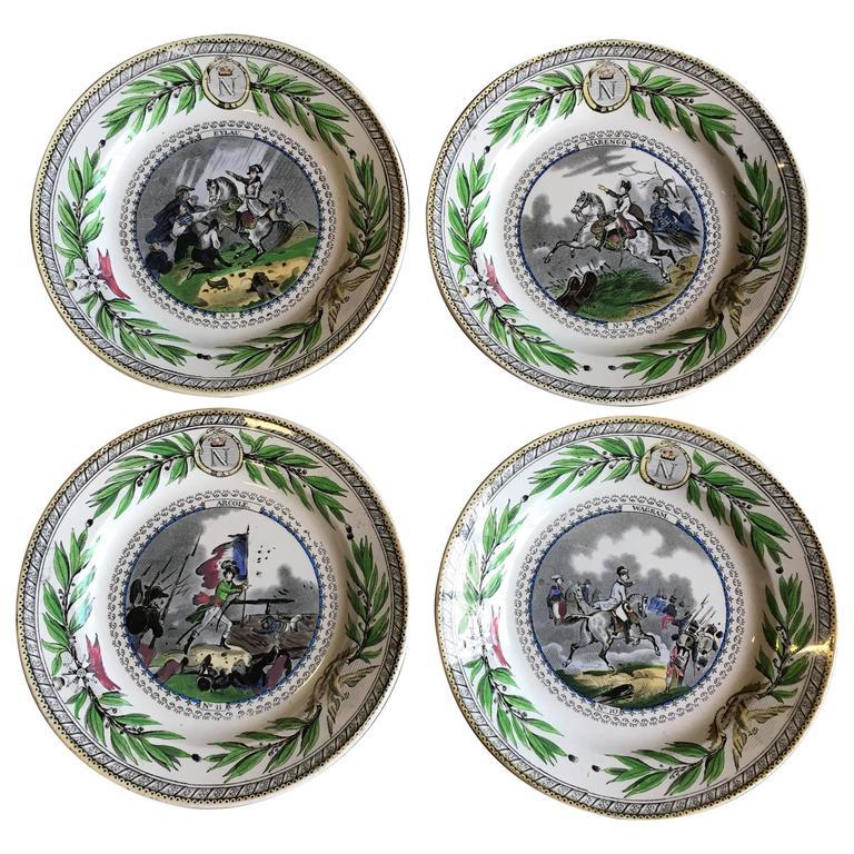 Set of Four Creil Plates, Napoleon