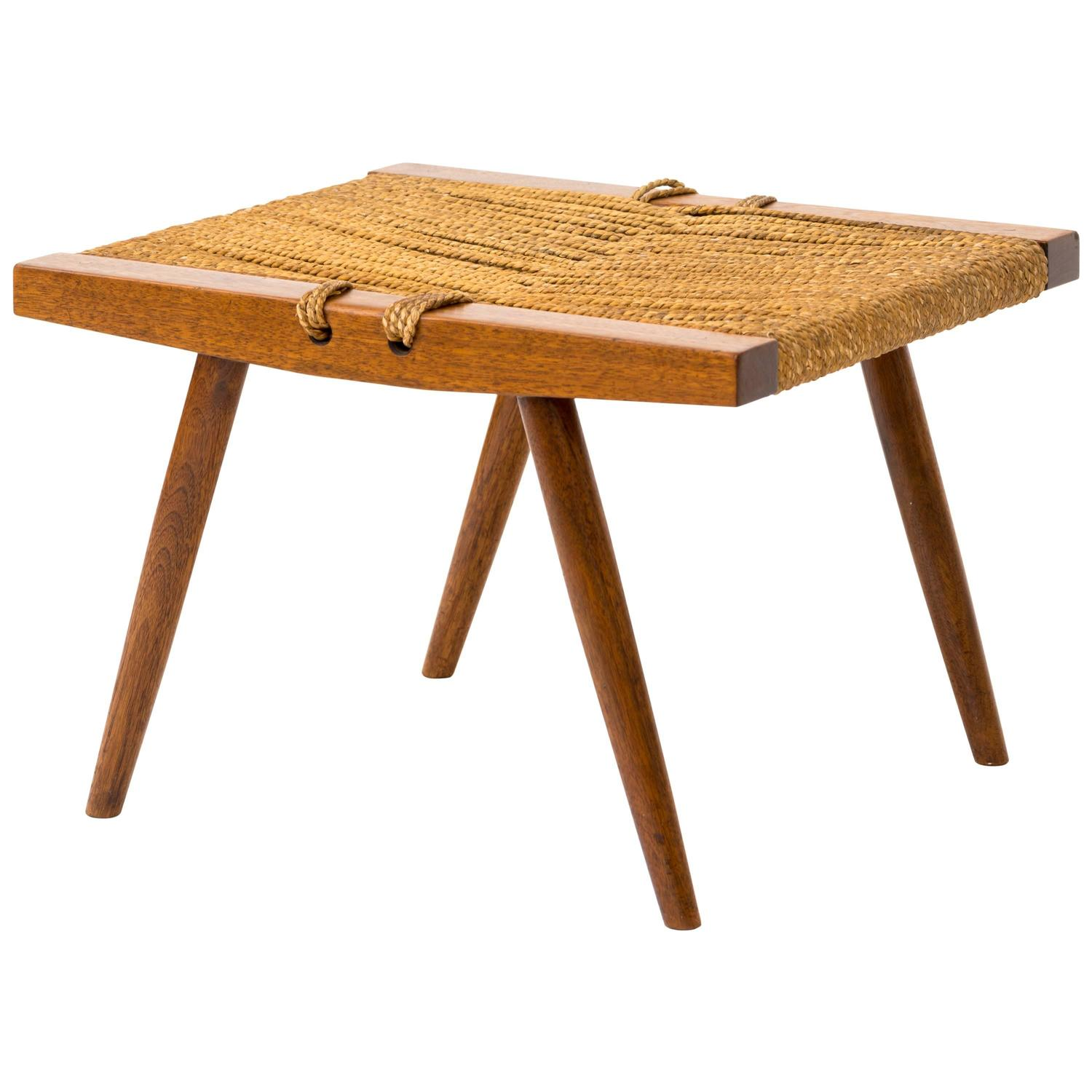 1950s George Nakashima Walnut and Woven Grass Seat Stool For Sale