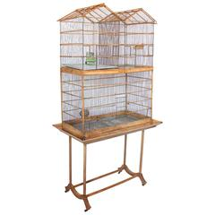 Large Stylish Antique English Bird Wood Cage