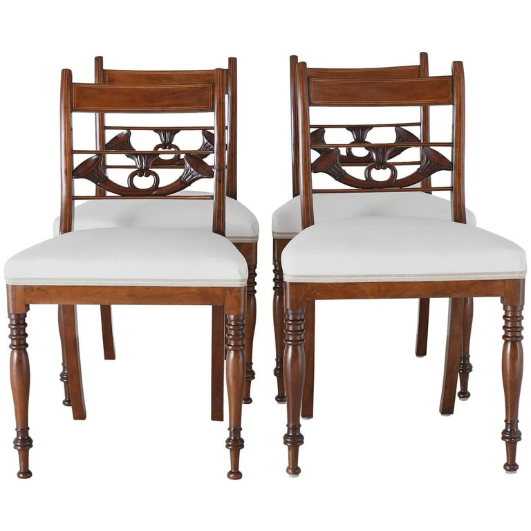 Set of 4 Antique English Regency Dining Chairs in Mahogany w/ Upholstered Seat For Sale