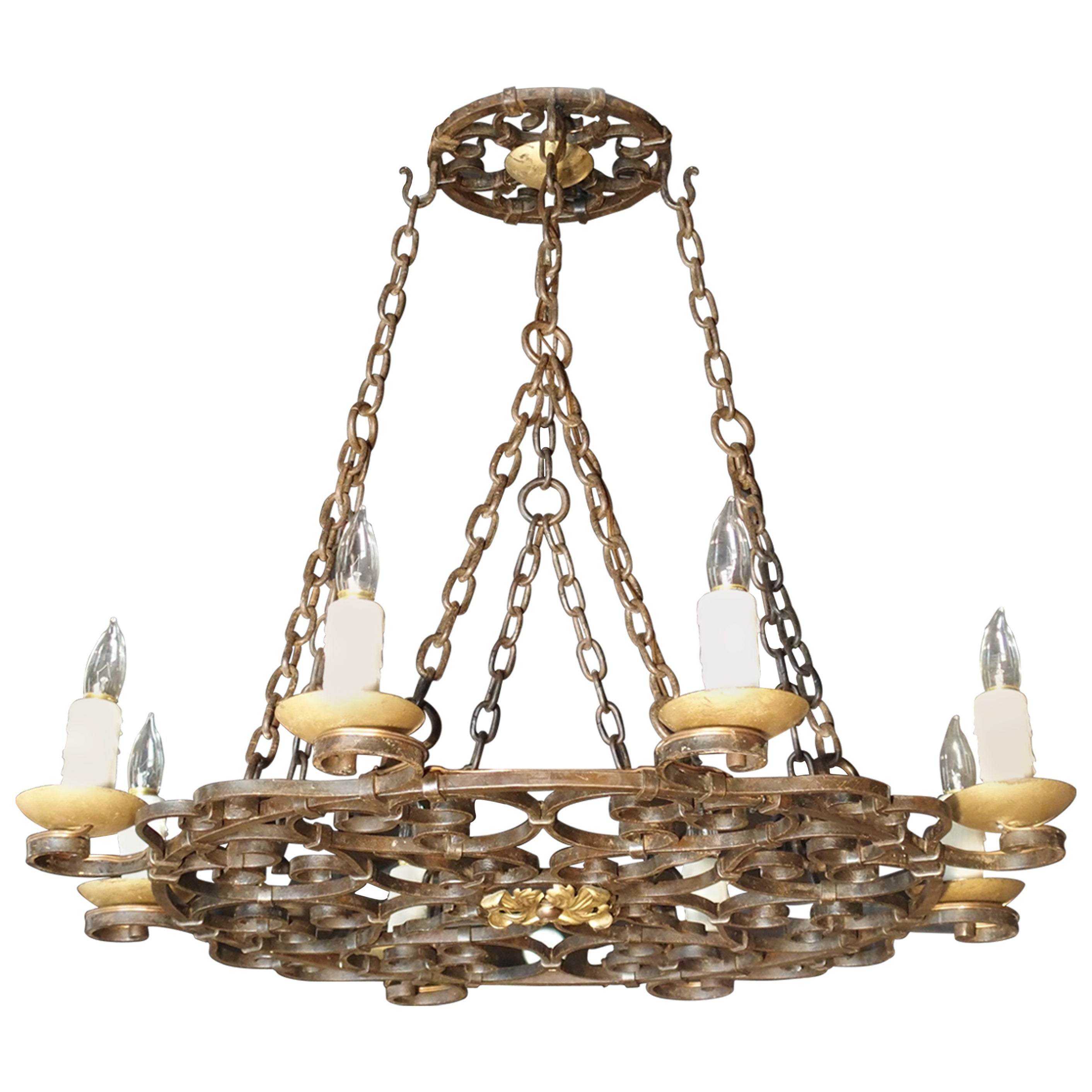 Early 20th Century Eight-Light Iron Chandelier from France