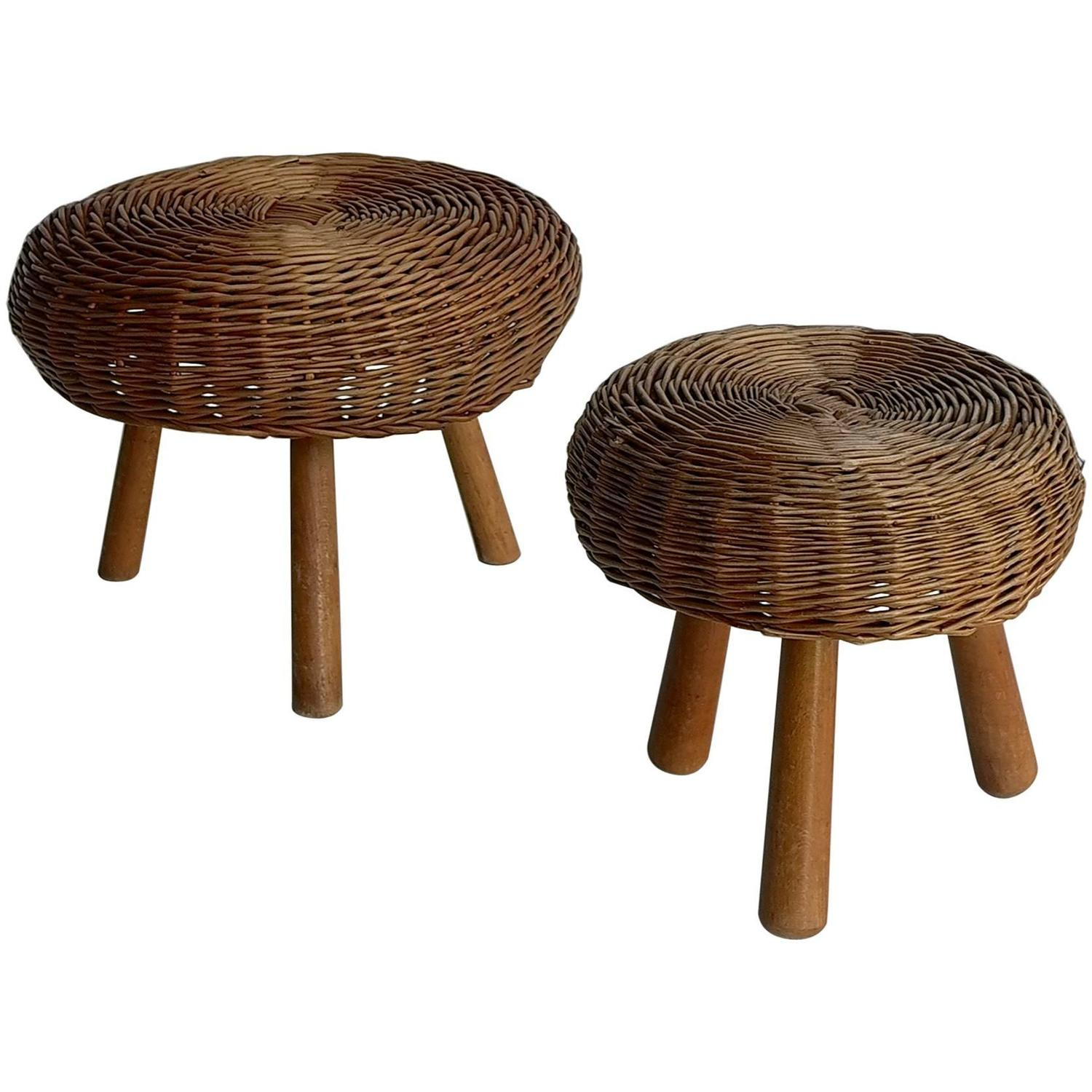 French Wicker Stools In Style Of Charlotte Perriand For