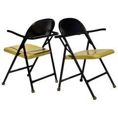 Sculptural Grasshopper Form Black and Yellow Metal Folding Chairs