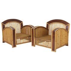 Pair of Art Deco Rattan Club Chairs