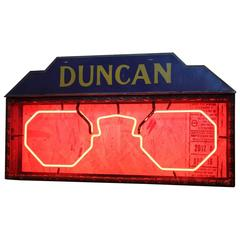 Antique Double Sided Duncan Glasses Neon Sign