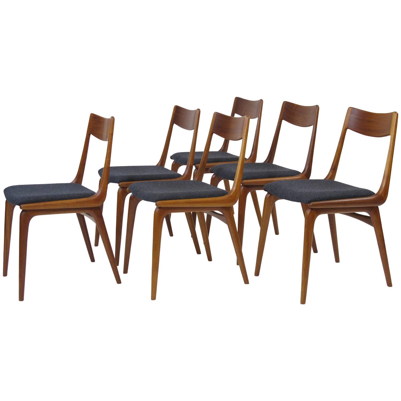erik christiansen boomerang danish teak dining chairs at 1stdibs