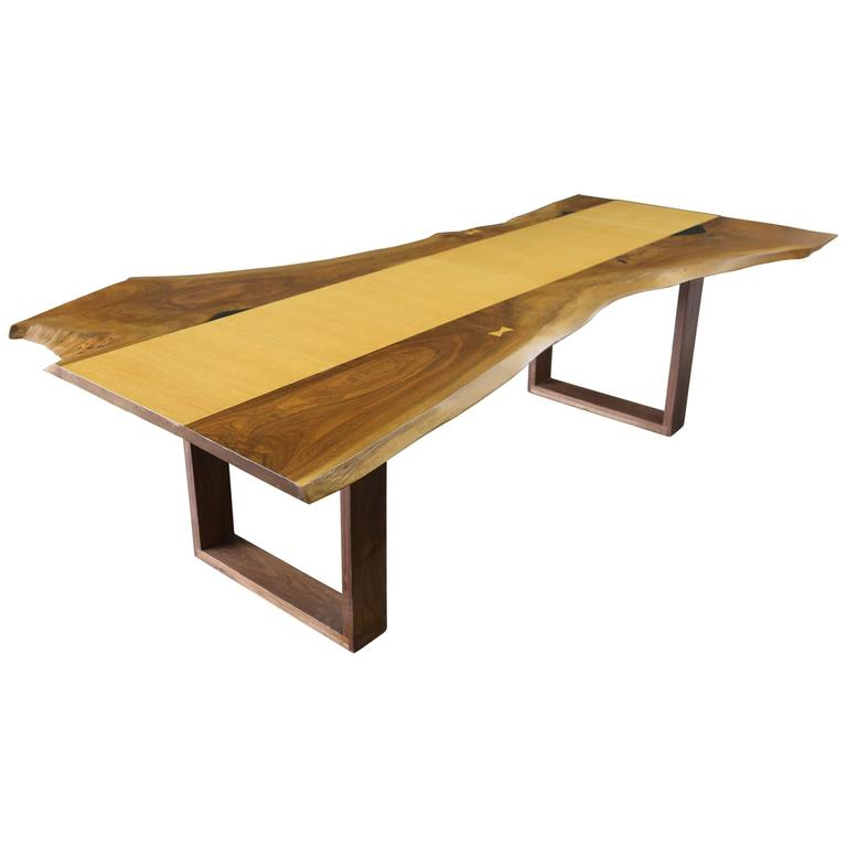 Sentient Live Edge Black Walnut Slab Dining Table With Red Oak Veneer For Sal