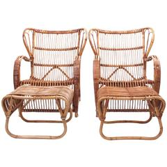Viggo Boesen, Pair of Bamboo Lounge Chairs