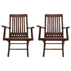 Pair of Rosewood Folding Steamer Deck Chairs