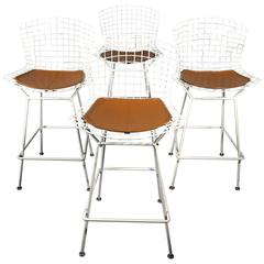 Harry Bertoia Bar Stools, Steel and Vinyl for Knoll Int'l, 1970s