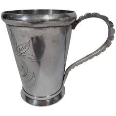 Pretty South American Silver Mug with Flower