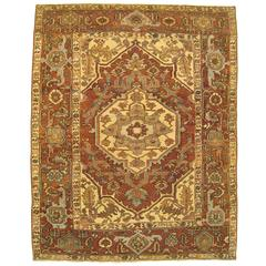 Antique Persian Serapi Oriental Rug, in Small Square Size, with Ivory Medallion
