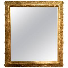 English Gold Leaf and Water Gilding Trim Mirror, circa 1850-1880